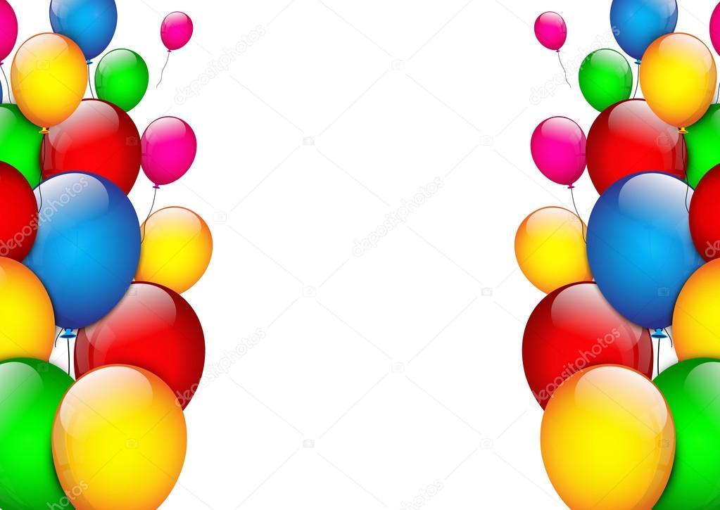 Sfondo di compleanno con palloncini di colore vettoriali - Immagine con palloncini ...