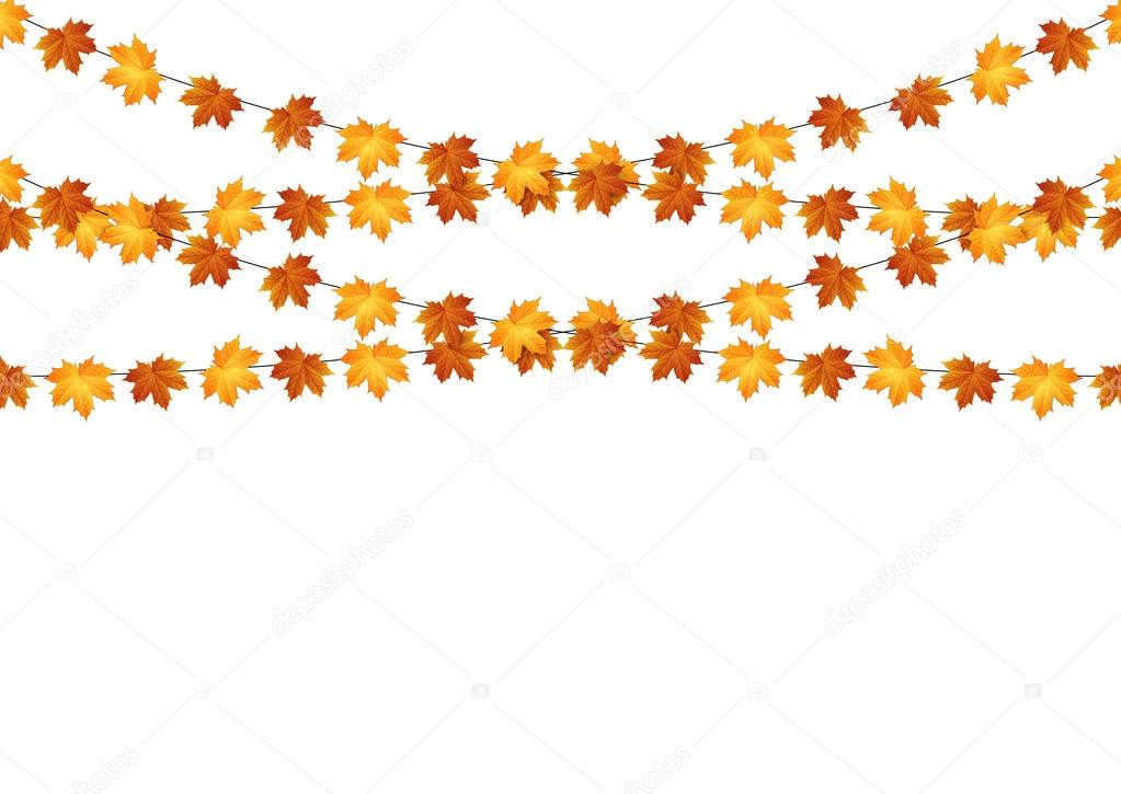 Garlands of autumn maple leaves on a white background.