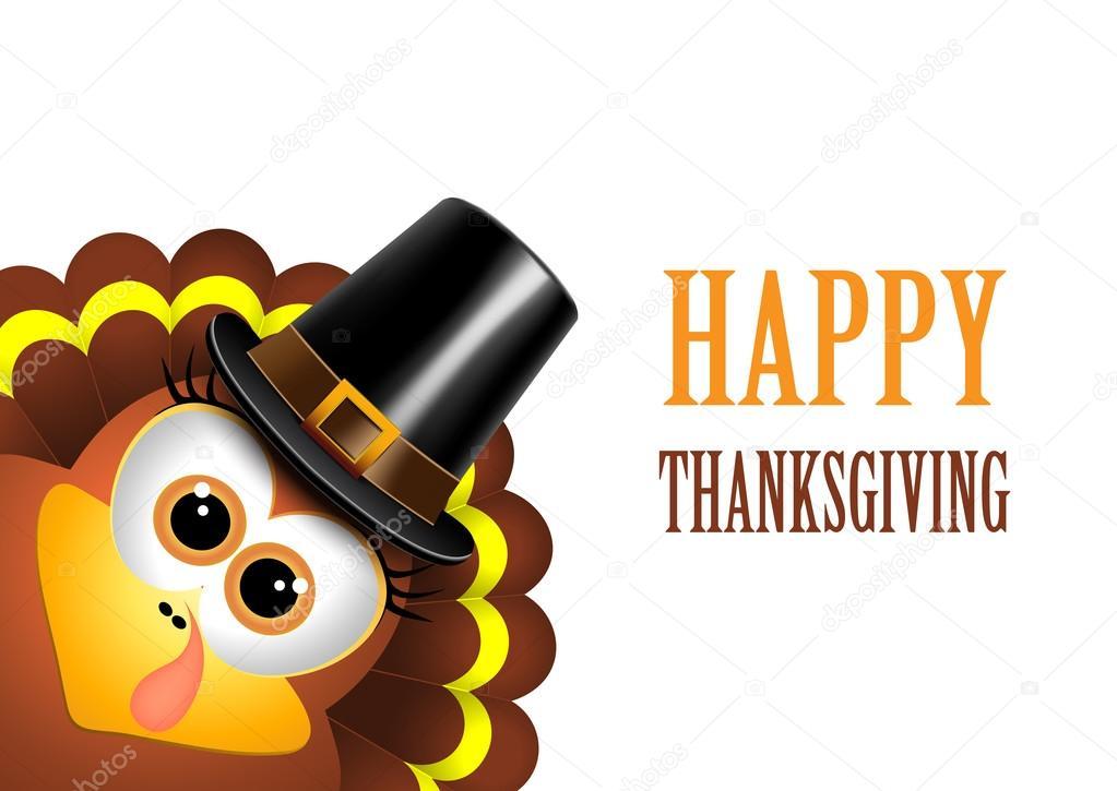 Tarjeta para el día de acción de gracias. Turquía en un sombrero de ...