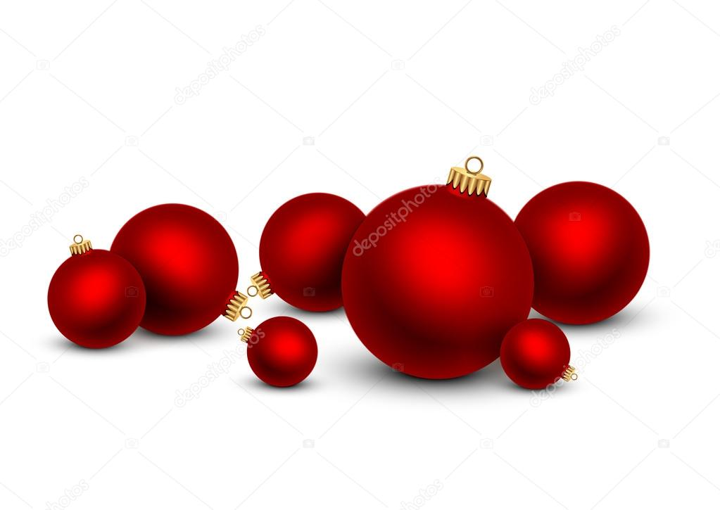 red christmas balls on white background stock vector