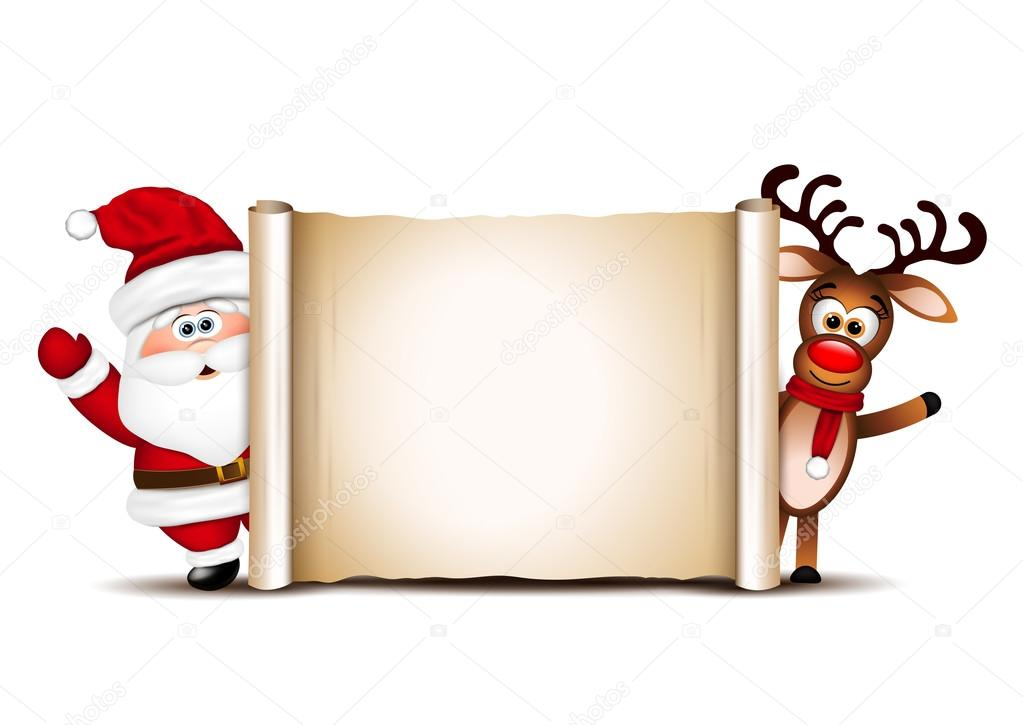 Christmas Card Design Template Santa Claus And His Reindeer