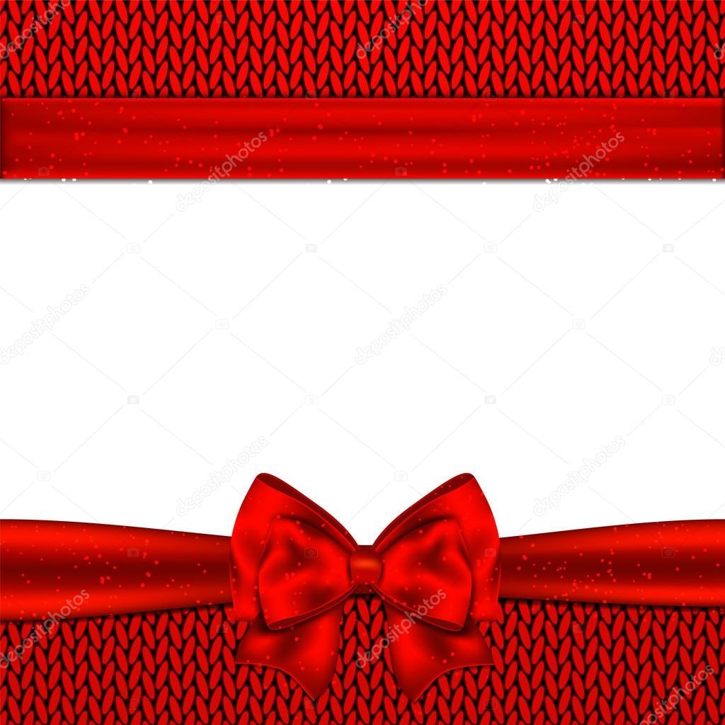 Arco rojo sobre fondo de punto rojo. Tarjeta de Navidad de diseño ...