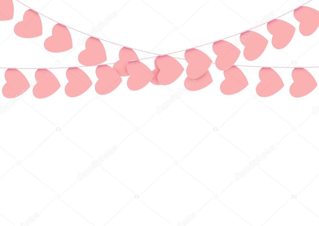 Rosa Herz Girlanden auf weiß — Stockvektor © gabylya89 #94314420