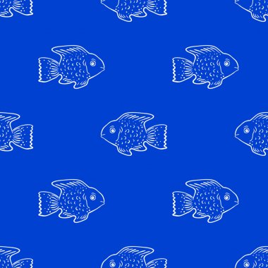 Seamless pattern with cute fish.