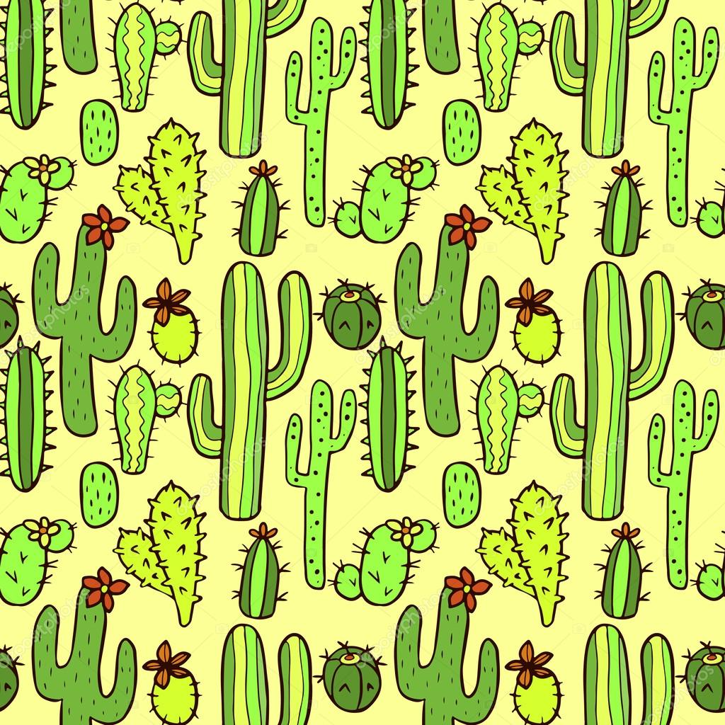 Seamless Pattern With Cactus Stock Vector C Littlepaw 56307381
