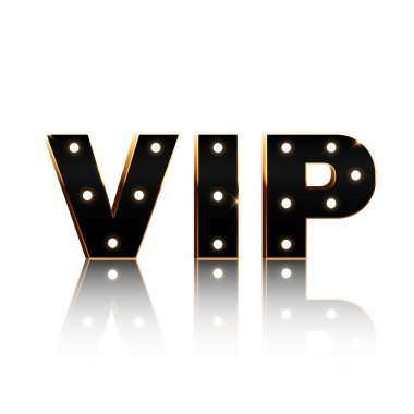 Vip text on white background