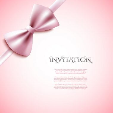 Card template with pink bow