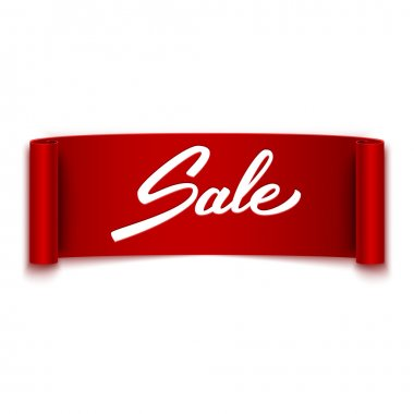 'Sale' text on red ribbon