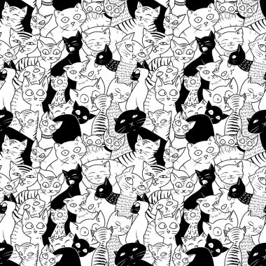 Seamless with black and white cats