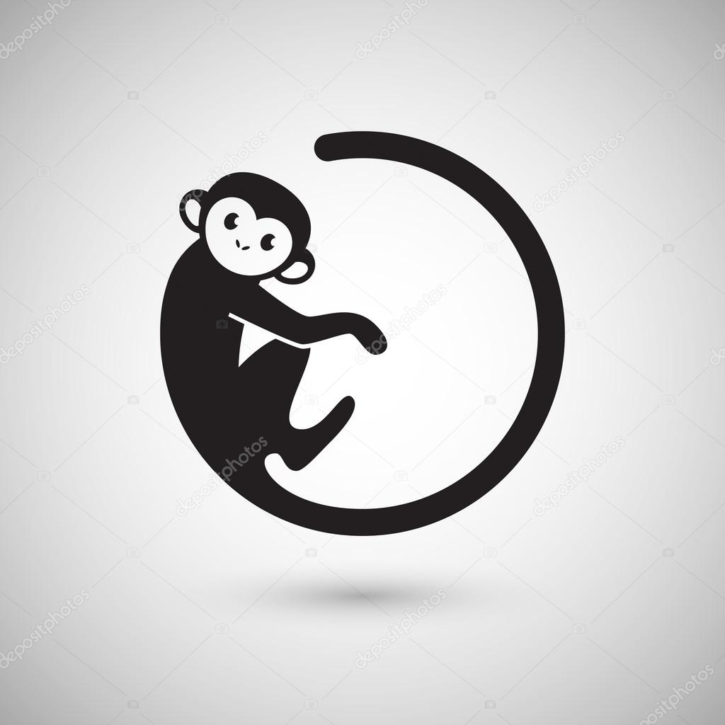 cute monkey logo in a shape of circle new year 2016 vector illustration logo design vector by littlepaw