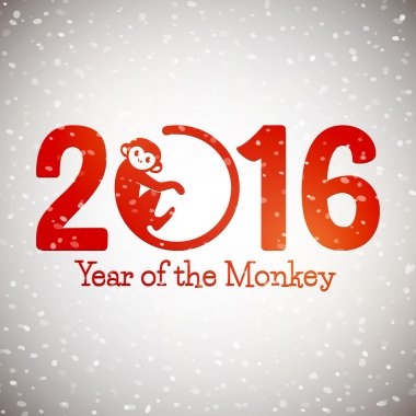New 2016 Year monkey symbol postcard