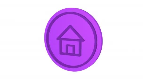 Ház 3D ikon. Lila szín. Alfa csatorna. Élénk animáció. 3d objektum