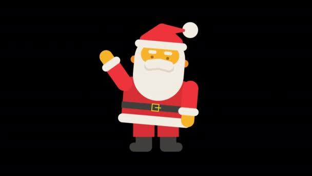 Santa Claus mávne rukou a řekne ho ho ho ho. Alfa kanál. Smyčková animace. Animační sada
