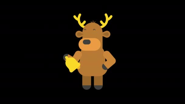 Rénszarvas fogja és cseng a karácsonyi harang. Alfa csatorna. Élénk animáció. Rajzfilmfigura