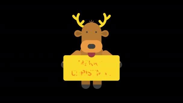 A rénszarvas felirattal van ellátva Boldog karácsonyt. Alfa csatorna. Élénk animáció. Rajzfilmfigura