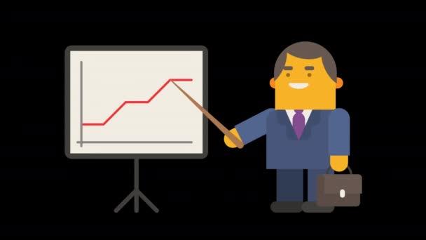 Geschäftsmann steht in der Nähe von Flipchart und zeigt Aufstieg und Fall Finanzdiagramm. Alpha-Kanal. Looping-Animation. Charakteranimation