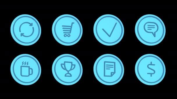 Obchodní ikony šipky koš šeková značka oblak káva zlato pohár dokument dolar. Ikony nastaveny. Alfa kanál. Smyčková animace. 3D objekt