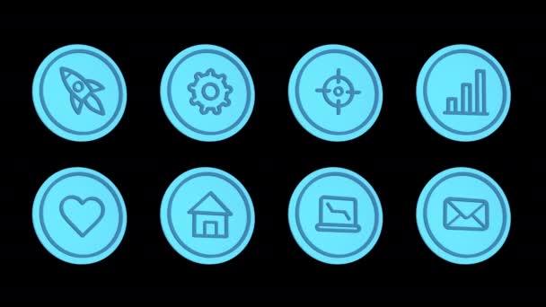 Business ikony raketa převodovka cíl obchodní graf srdce domácí notebook dopis. Ikony nastaveny. Alfa kanál. Smyčková animace. 3D objekt