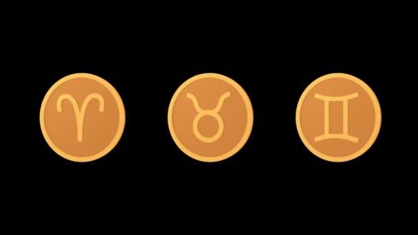 Sternzeichen: Medaillons Widder Stier Zwillinge. Ikonen gesetzt. Alpha-Kanal. Looping-Animation. 3D-Objekt