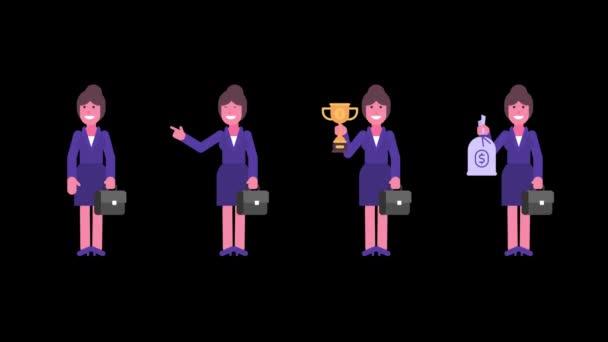 Obchodní žena mává rukou a ukazuje prstem na zlatý pytlík s penězi a kufry. Alfa kanál. Smyčková animace. Animace znaků