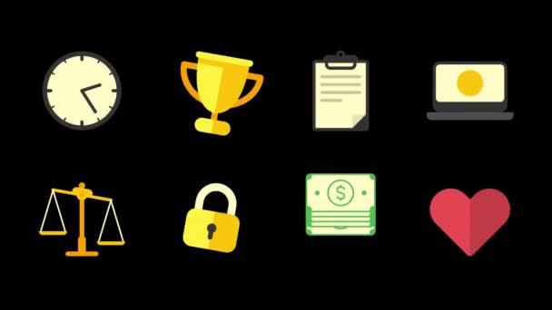 Ikony nastavit hodiny zlatý pohár tablet notebook váhy visací zámek peníze srdce. Alfa kanál. Animace smyčky