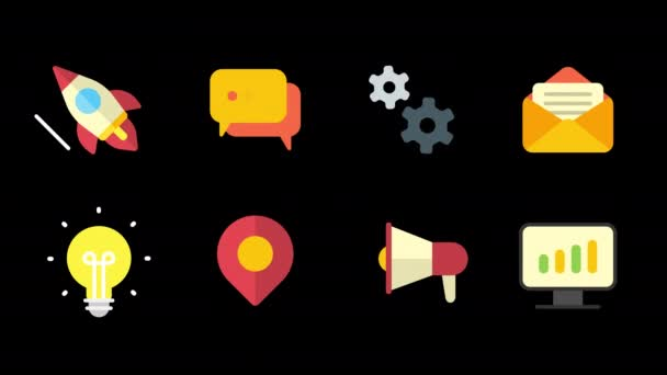 Symbole setzen Raketenwolken Getriebe Brief Glühbirnen Marker Megafon-Monitor. Alpha-Kanal. Looping-Animation
