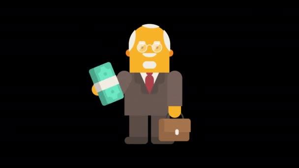 Altunternehmer hält Waid Money und lächelt. Alpha-Kanal. Looping-Animation. Charakteranimation