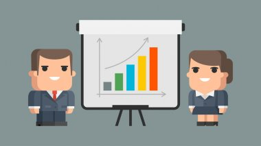 Businessman business woman and flip-chart