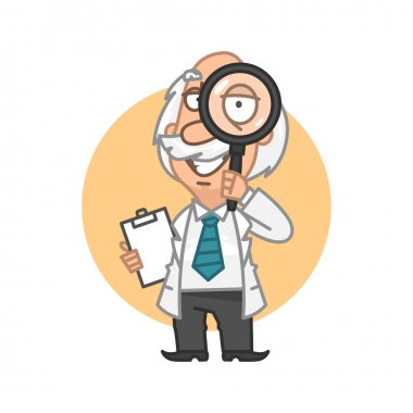 Professor looking through magnifying glass