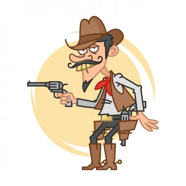 Funny cowboy with gun