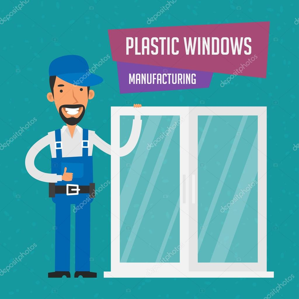 Repairman manufactures plastic windows