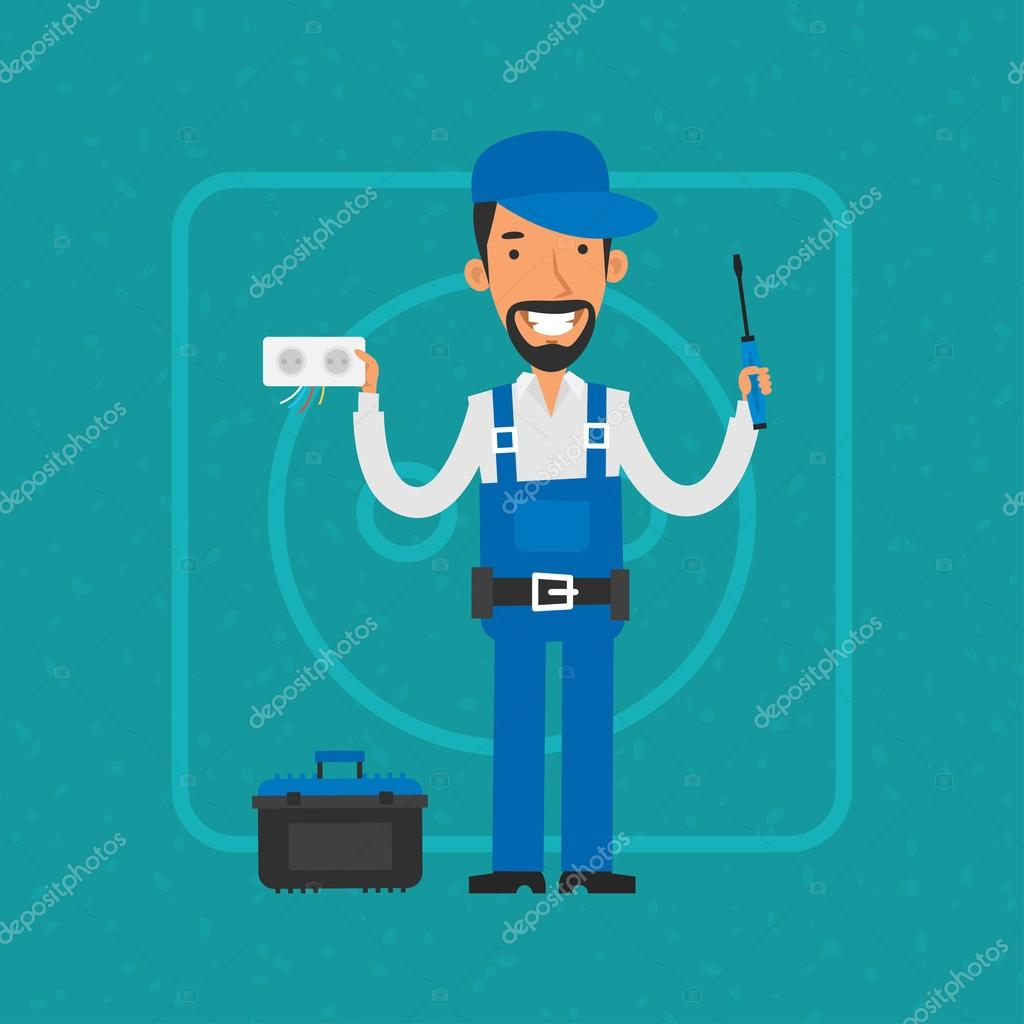 Repairman repairing electrical equipment