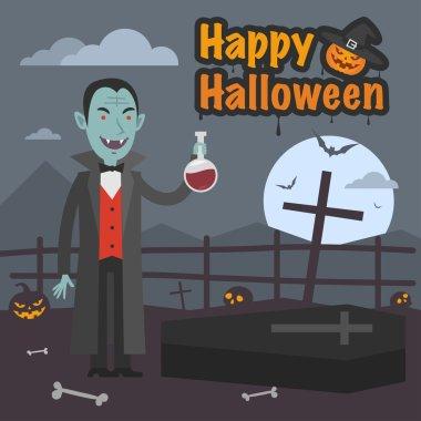 Illustration Halloween Dracula holds tube of blood