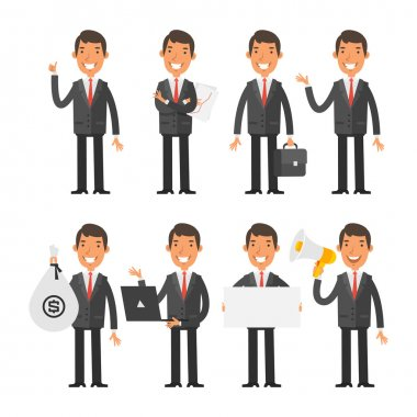 Vector Illustration, Businessman in red tie in different poses, format EPS 8 stock vector
