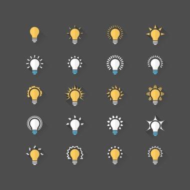 Set of 20 bulb flat icons. Vector illustration eps10