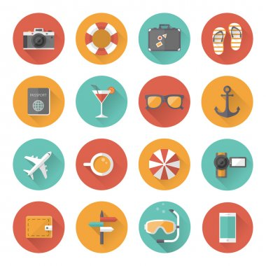 Summer holiday, tourism and vacation flat icons with long shadow effect. Vector illustration eps10