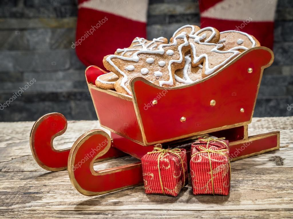 Christmas Gingerbread Cookies In Red Mini Sleigh Stock Photo