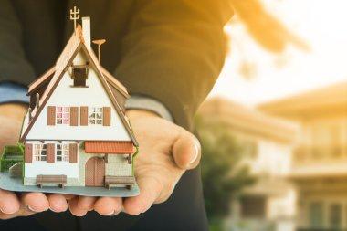 New home ,businessman show model house