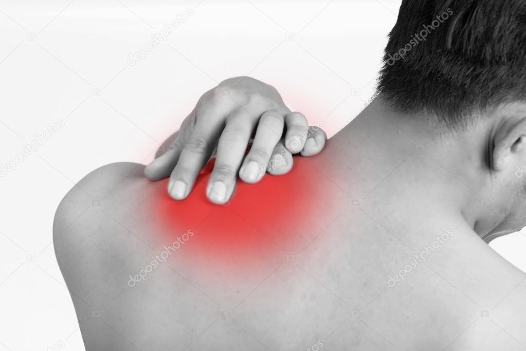 Schmerzen in der Schulter, rote schmerzhafte Spannung Muskel ...