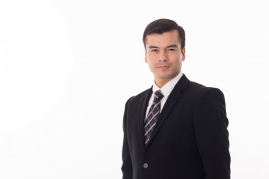 Smart businessman looking to camera with white background.