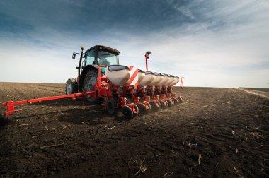 seeding crops at field