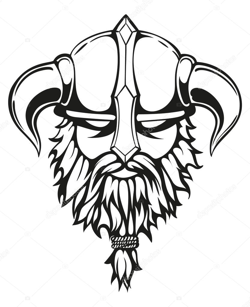 Viking graphic image stock vector zayatsandzayats 110187042 brutal viking warrior monochrome contours illustration viking head with a horned helmet and a beard vector illustration vector by zayatsandzayats biocorpaavc