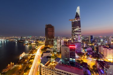 Aerial view Saigon Riverside at evening - night