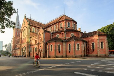 Saigon Notre Dame cathedral, French architecture downtown district 1, Ho Chi Minh City