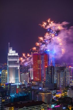 Ho Chi Minh city aeriel view with Fireworks and Laser Music Show in 2015 National celebration Day.