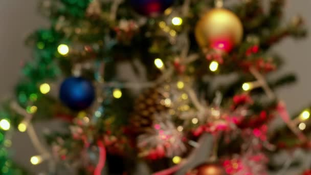 Muž požaduje vánoční dárek s vánočním stromečkem na pozadí a žena mu ho dává. Současný přenos.