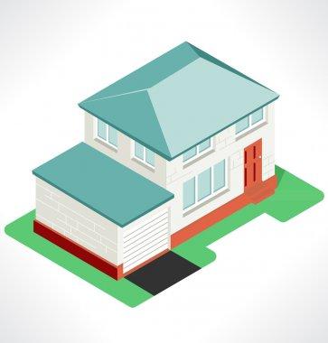 Isolated isometric village, vector illustration