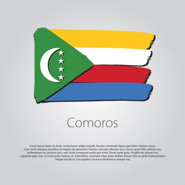 Comoros Flag with colored hand drawn lines in Vector Format