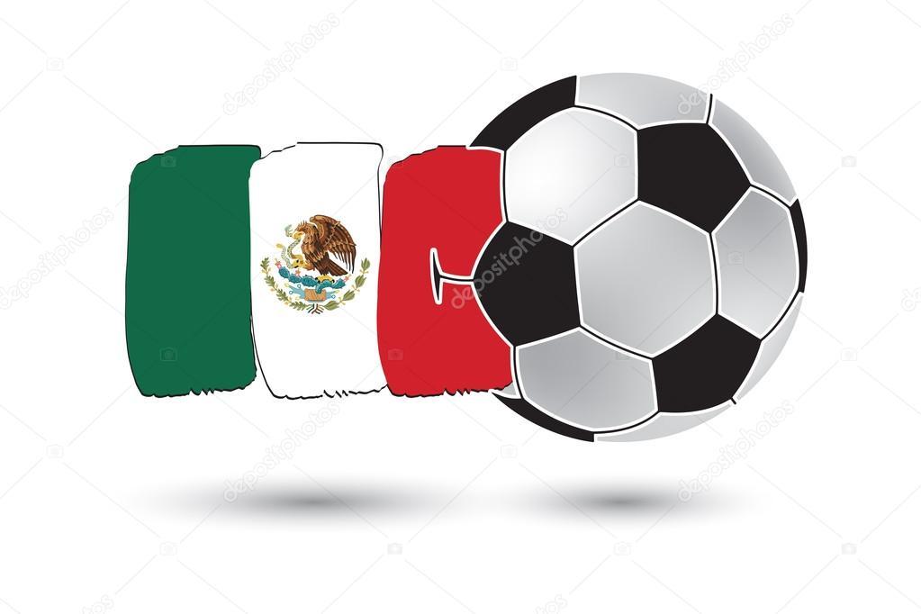 Balón de fútbol y la bandera de México con la mano color dibujado ...