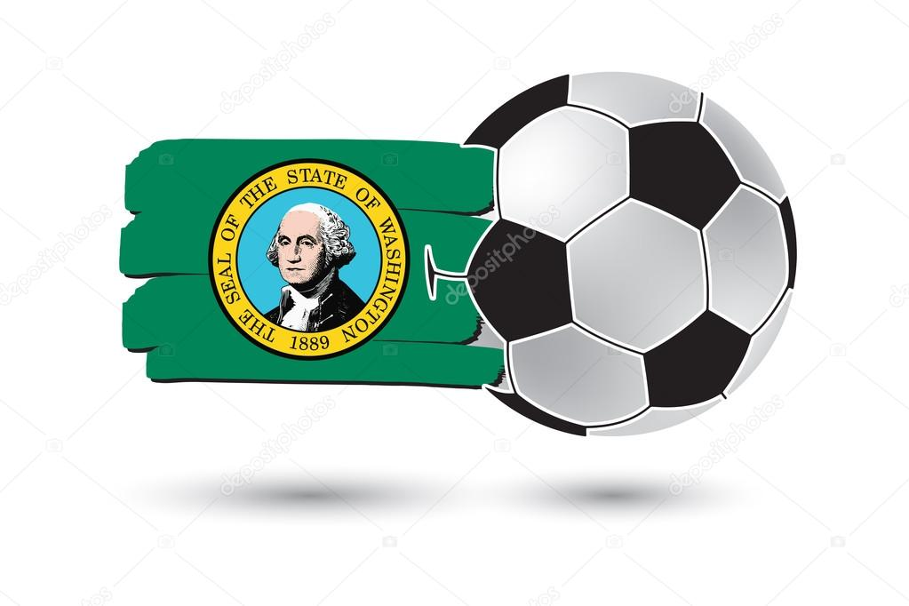 Balón de fútbol y la bandera del estado de Washington con la mano ...